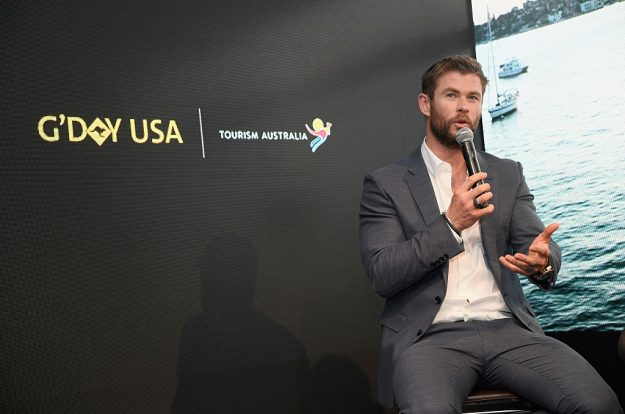 Chris Hemsworth speaks onstage during a Virtual Tour of Australia in NYC. Image: Dimitrios Kambouris/Getty Images