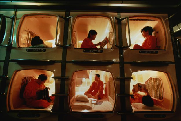 Designed for business people, this is a capsule hotel in Osaka, Japan. Image: