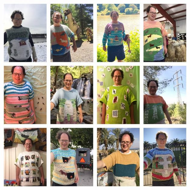A picture featuring all of the sweaters Sam knitted in 2016, including a sweater with other sweaters on it.