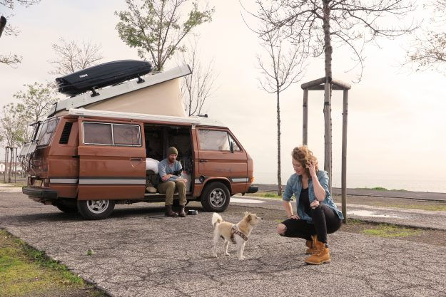 Jeroen Bosman and Hedwig Wiebes are travelling around Europe in a van with the dogs. Image: Drive Slow, Live Slower