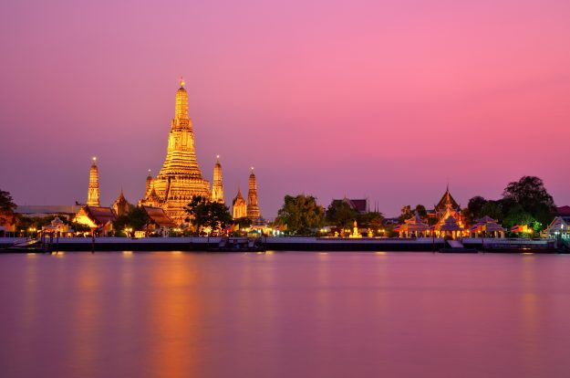 Wat Arun at sunset in Bangkok, Thailand. Image: Jirawas Teekayu