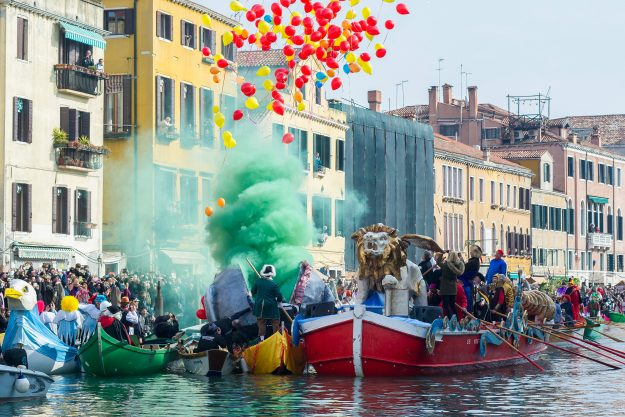 This year's Venice Carnival launches with colourful water ...