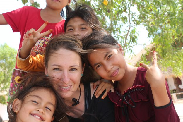 Ana met many friendly people on her travels, like these children in Cambodia.