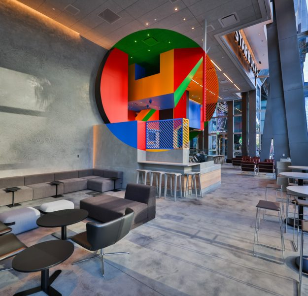 The Las Vegas strip store features a geometric installation by French artist Georges Rousse.