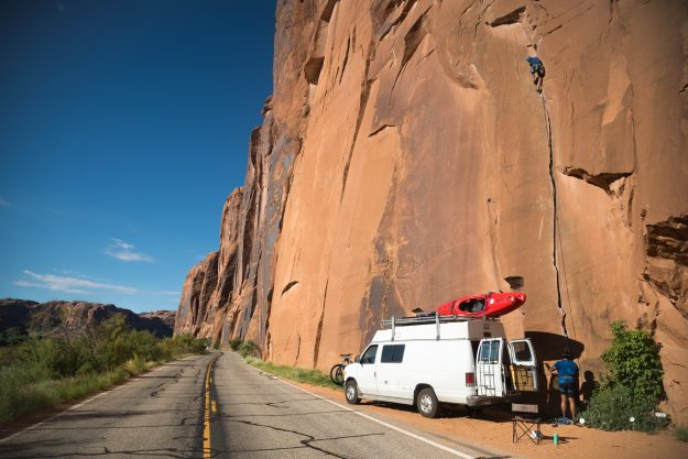 Belaying by the roadside in Moab, Utah.