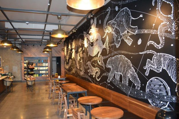 The store at Griffith Park LA features a large mural of the cosmos in honor of the nearby Griffith Observatory.