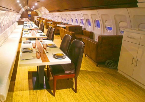 A retired passenger jet has found a new life as a restaurant in India. Image: Hawai Adda