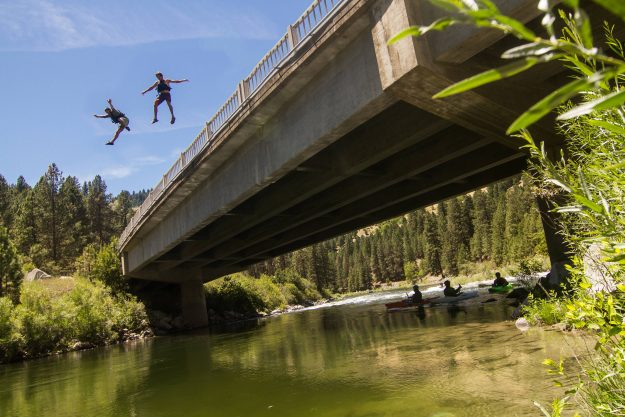 Jumping from a bridge in Banks, Idaho.