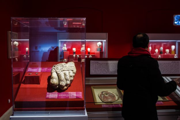 The foot of Zeus artefact, currently on display, inside the National Museum of Afghanistan, located in Kabul, on 24 February 2017. The foot is believed to of been looted during the Afghan civil war that ensued following the Soviet withdrawal.