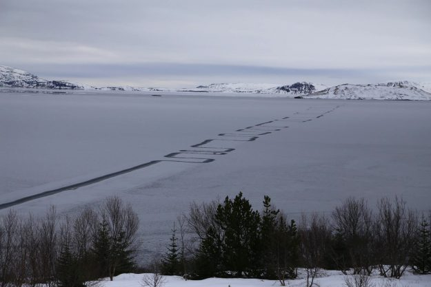 These strange zig zag patterns on a frozen lake in Iceland have got people confused