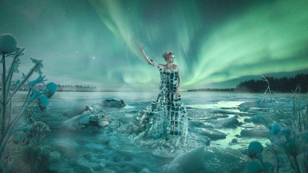 Photographer Suvi Sievilä has created an 'ice dress' in the shape of Finland to celebrate the centenary of its independence. Image: Suvi Sievilä