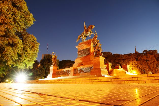 Monument of General San Martin at night in Buenos Aires, Argentina. Image: Michael Osterrieder