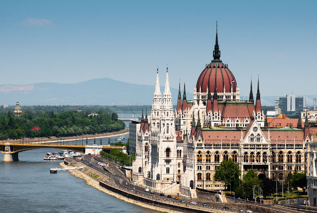Parliament on Danube river, Budapest.