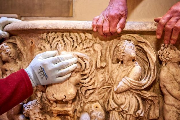 A Roman Sarcophagus has been rescued from humble duty as a flower pot. Image: Blenheim Palace