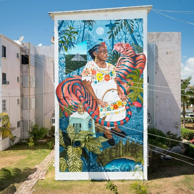 Two of the new examples of Cancun street art in the downtown area.