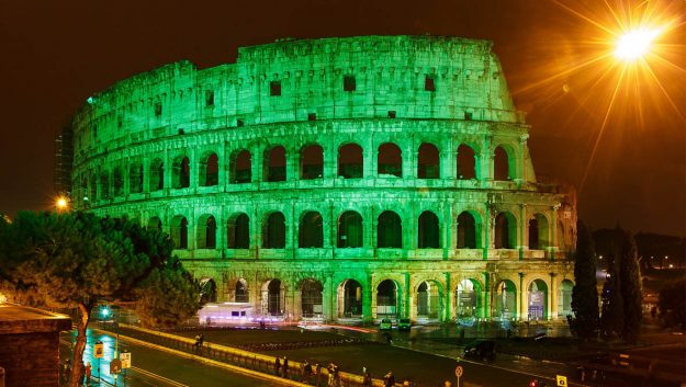 Rome's Colosseum goes green.