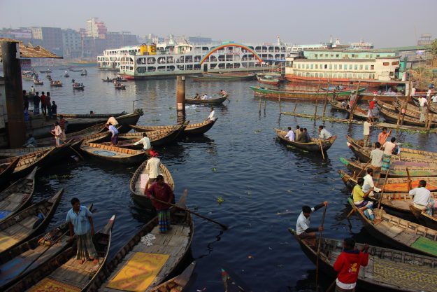 Busy and vibrant Sadarghat in Dhaka