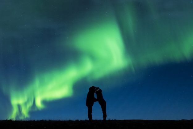 The backdrop of the Northern Lights proved to be the perfect setting for the photographers.