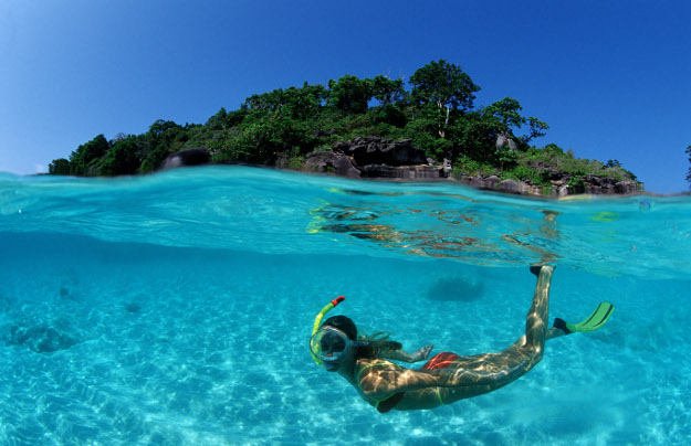 Snorkelling near a tropical island in Thailand.