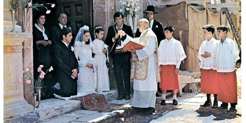 Al Pacino getting married in a scene from the 1972 mafia film The Godfather. Image: Paramount/Getty Images