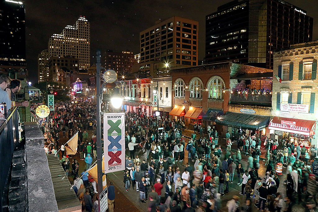 A general view of the atmosphere on 6th street in downtown Austin during the South By Southwest Music Festival.