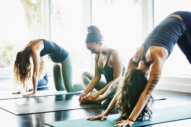 Group of women stretching.