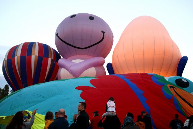 Different shaped creations at the Canberra Balloon Spectacular 2017.