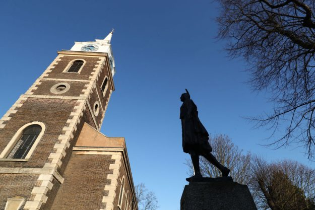 A general view of the Grade II life-size bronze of Pocahontas at the Church of St George in Gravesend, Kent.