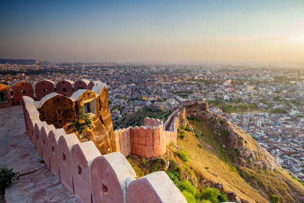 Jaipur from Nahargarh Fort at sunset