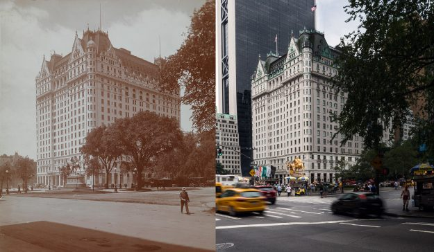 The Plaza then and now, New York City