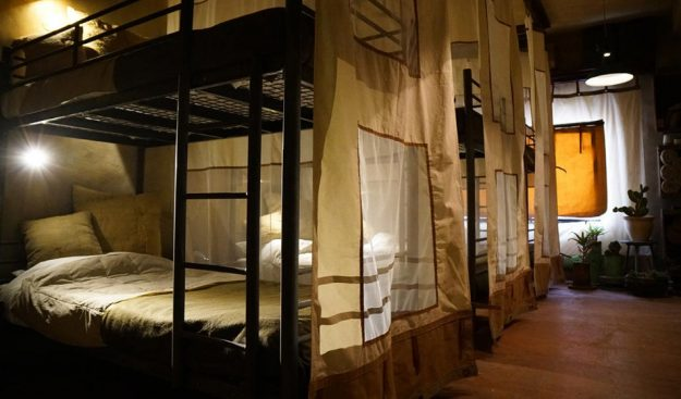 Budget rooms are outfitted with surplus from an Israeli military barracks.