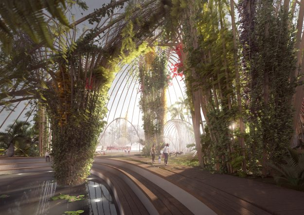A proposed new indoor park would help people to socialise during Stockholm's harsh winters. Image: Utopia Architects