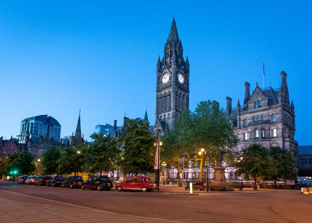 Manchester Town Hall, England.