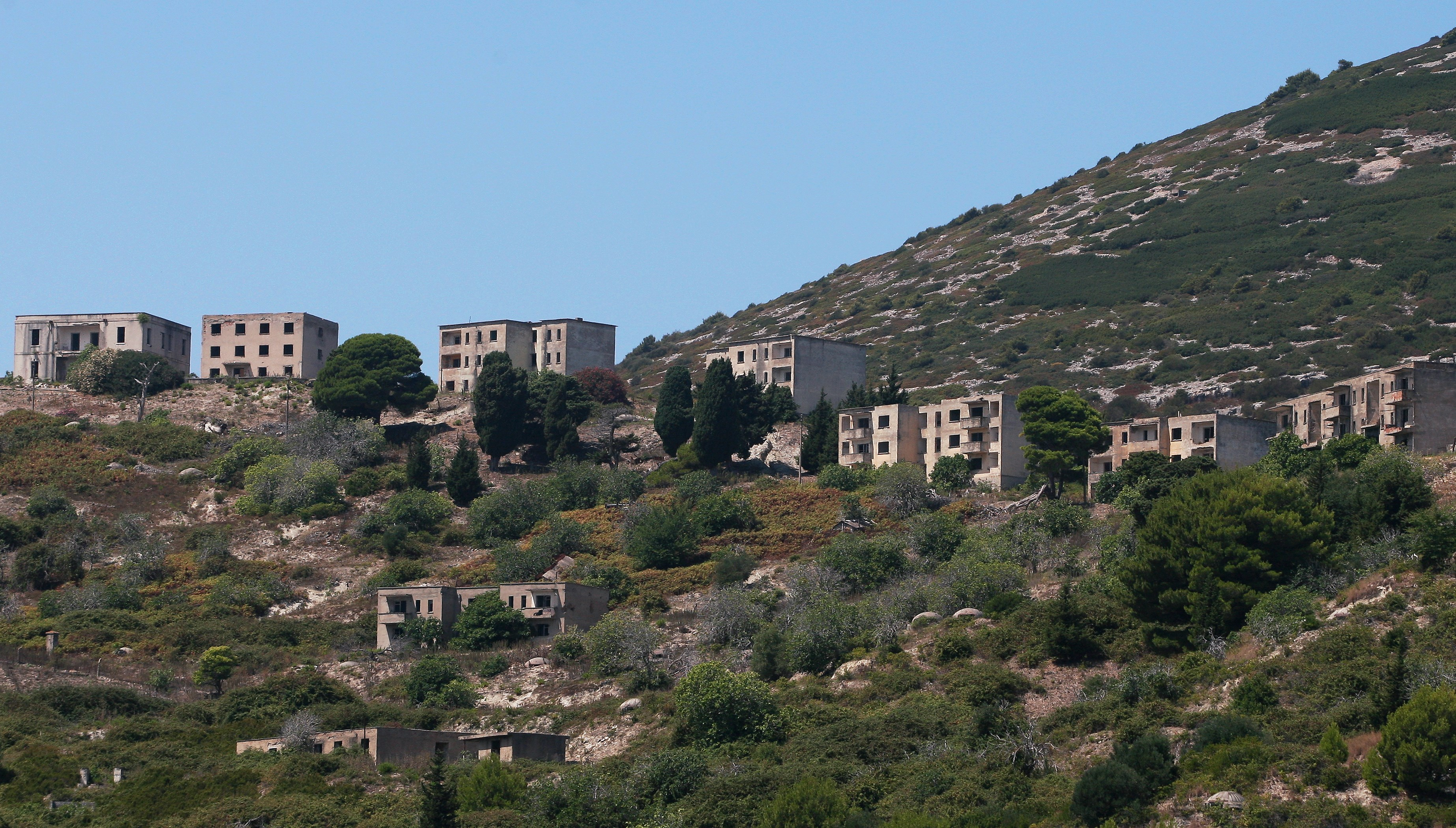 Former military base on Albania's Sazan Island. Image by GENT SHKULLAKU/AFP/Getty Images)
