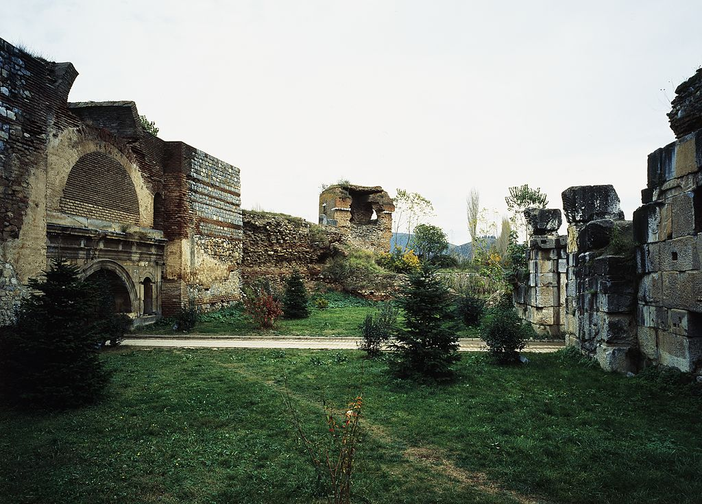 The walls and the North Gate of Nicaea/Iznik (today Istanbul Gate), with an inscription in honor of the Roman emperors Vespasian and Titus (1st-3rd century AD), ancient city of Nicaea, Iznik, Turkey.