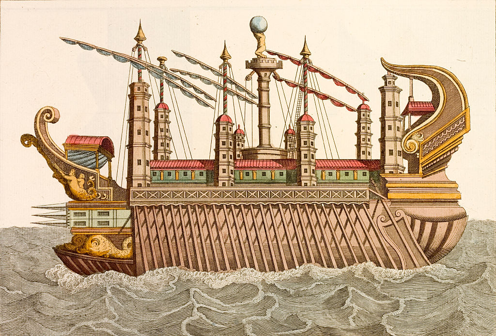 An 18th-century print of a royal barge as used by L. Nemi or Caligula.