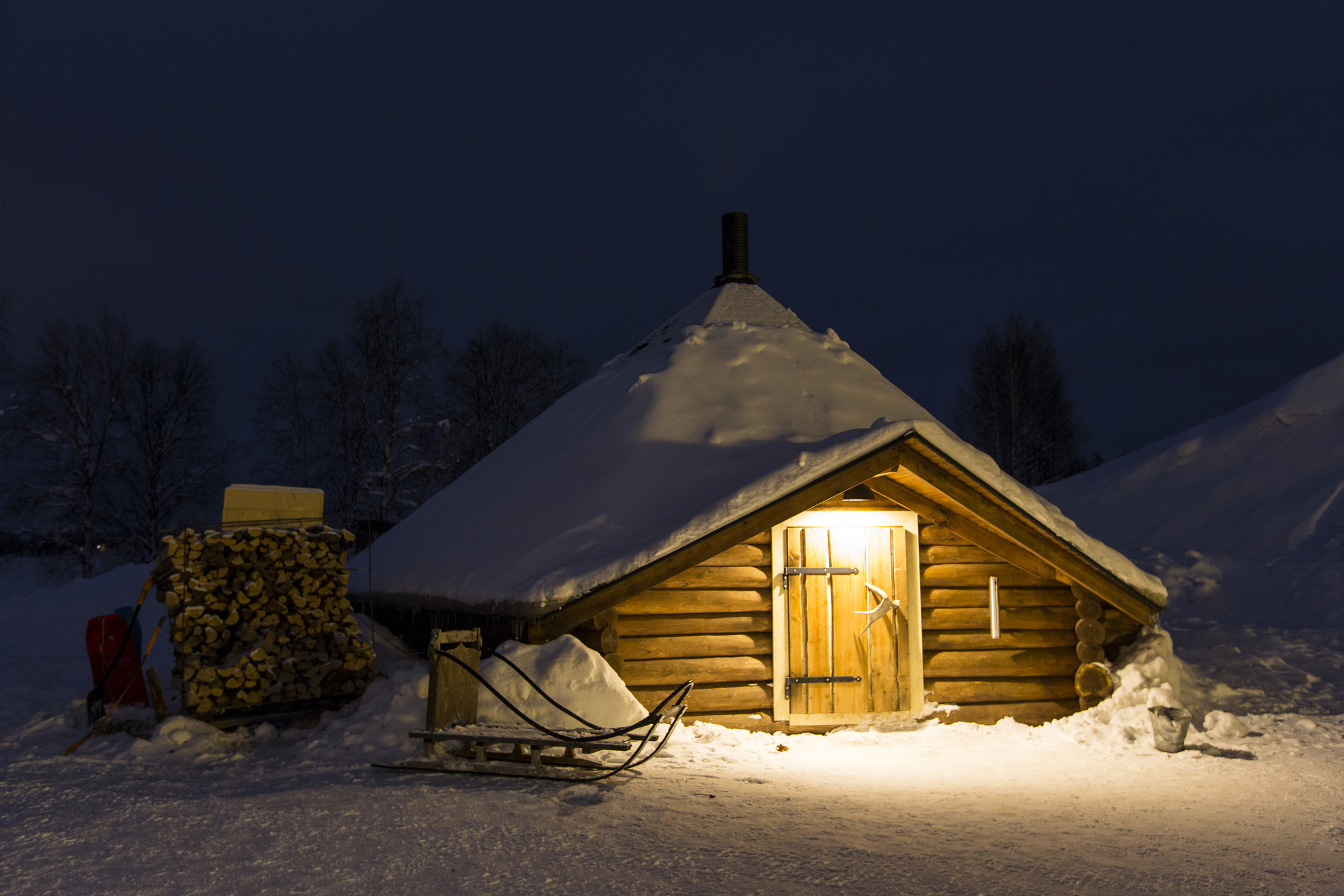 Kota, hut of the Sami people, Sinettä, Lapland, Finland. For security reasons, the location of Shia's cabin has not been released.