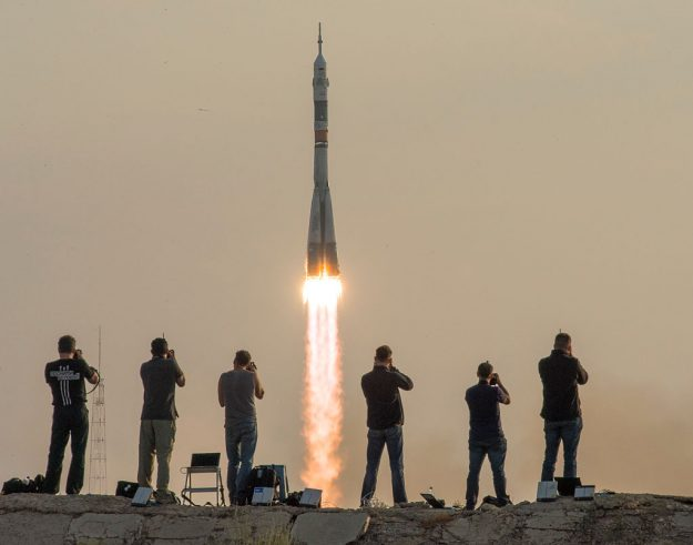 The Soyuz MS-01 spacecraft launches from the Baikonur Cosmodrome with Expedition 48-49