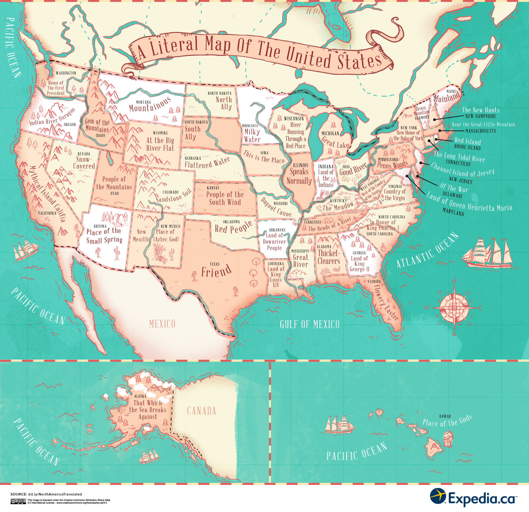 Map Reveals The Meaning Behind Place Names In The USA And Canada - Map of usa and canada
