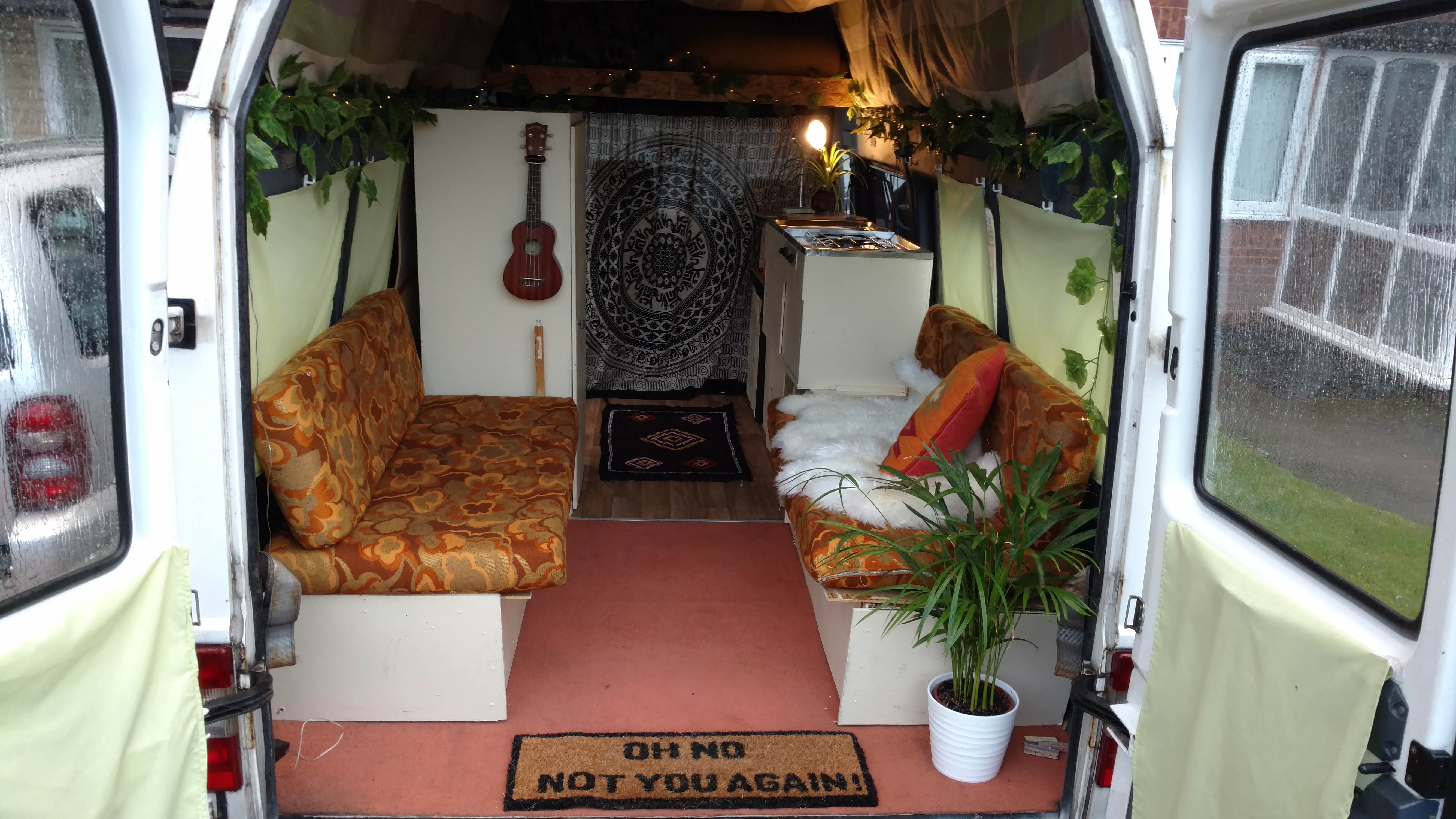 The pair can relax in their bus as they drive around Europe.