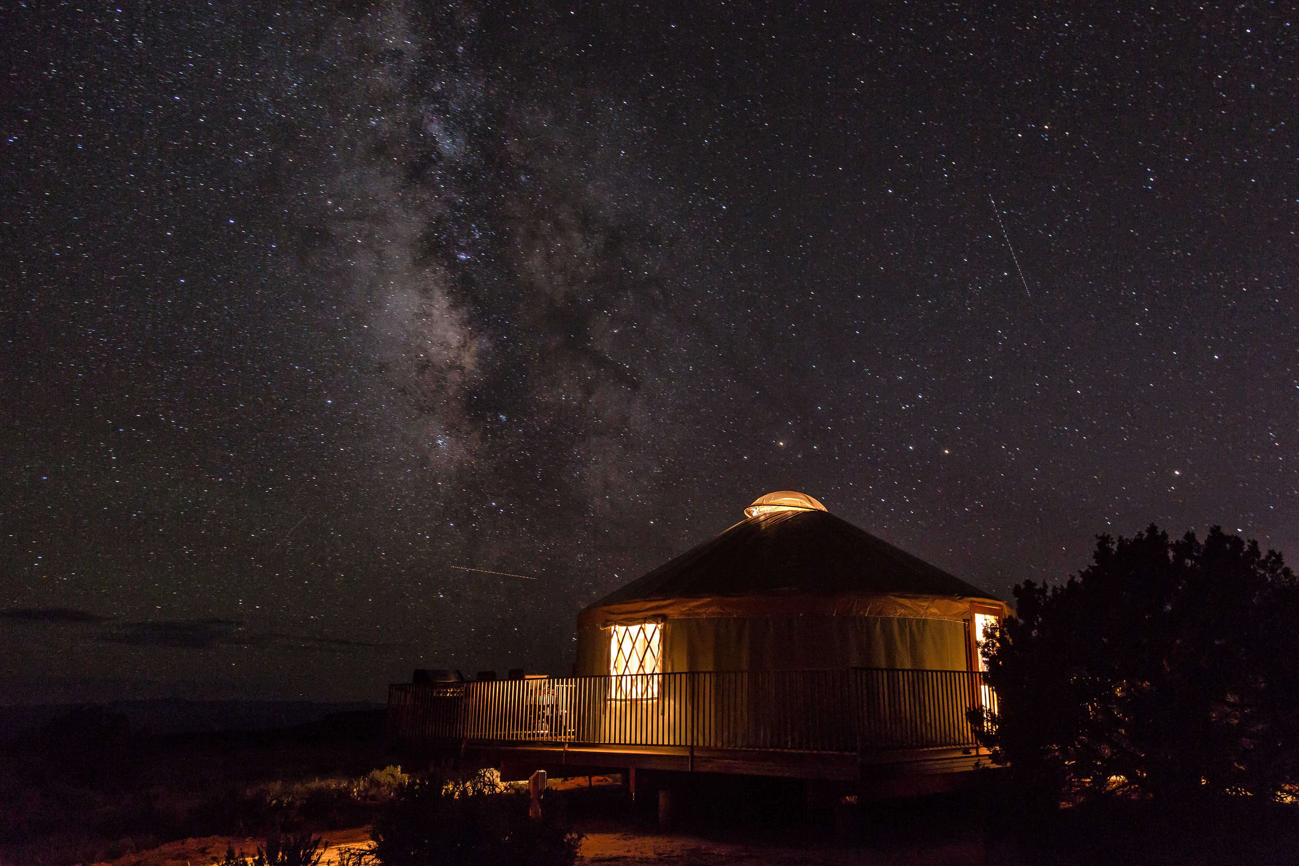 Milky Way over yurts at Dead Horse Point. Image: Brett Edge