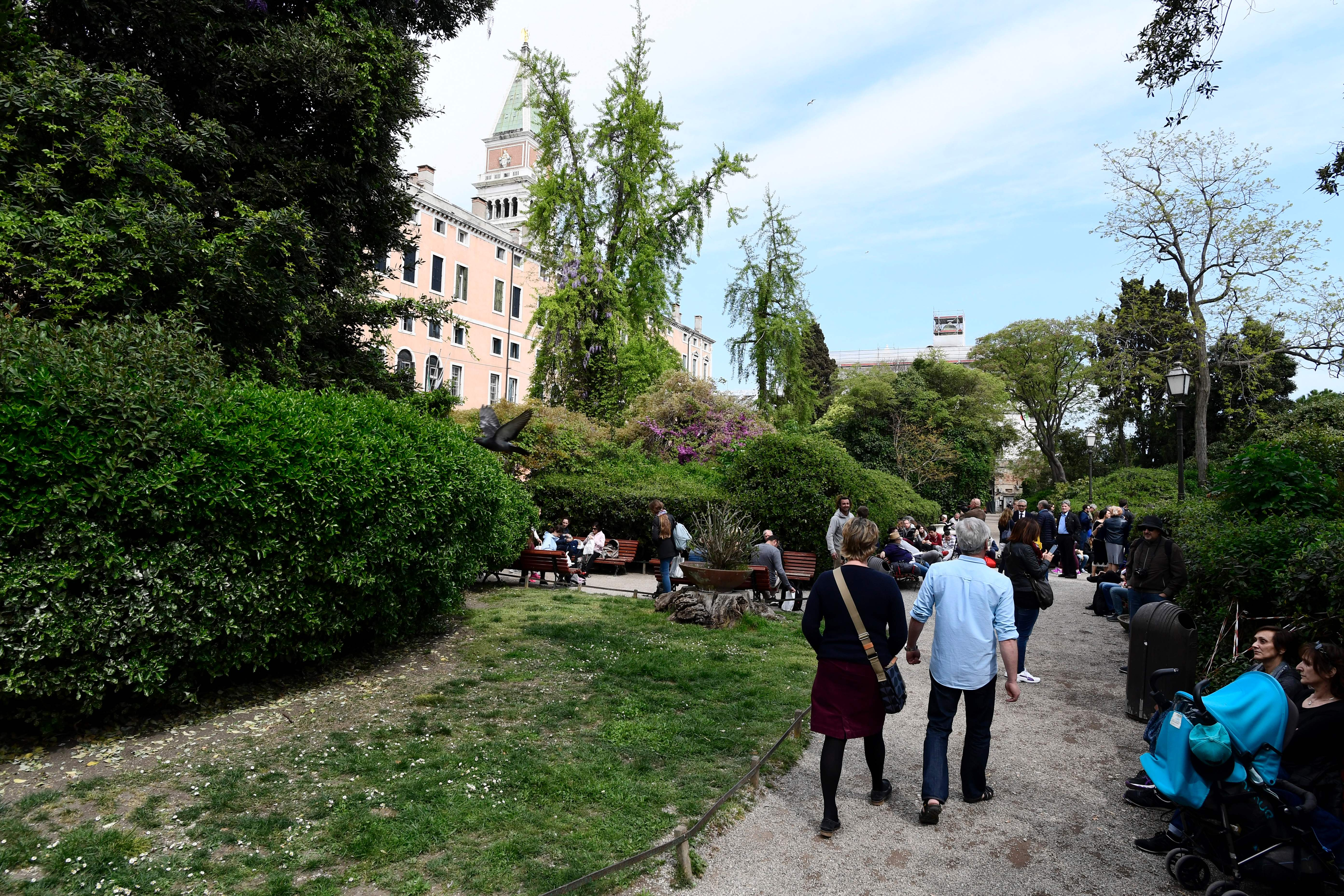 A picture taken on 7 Apri, 2017 shows a general view of the Royal Gardens of Venice.