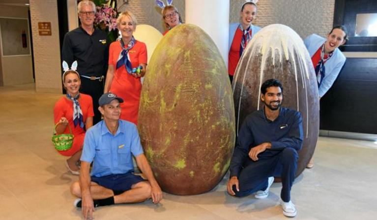 The giant Easter eggs were created by chef Woody Theurelof. Image: Sofitel Noosa Pacific Resort
