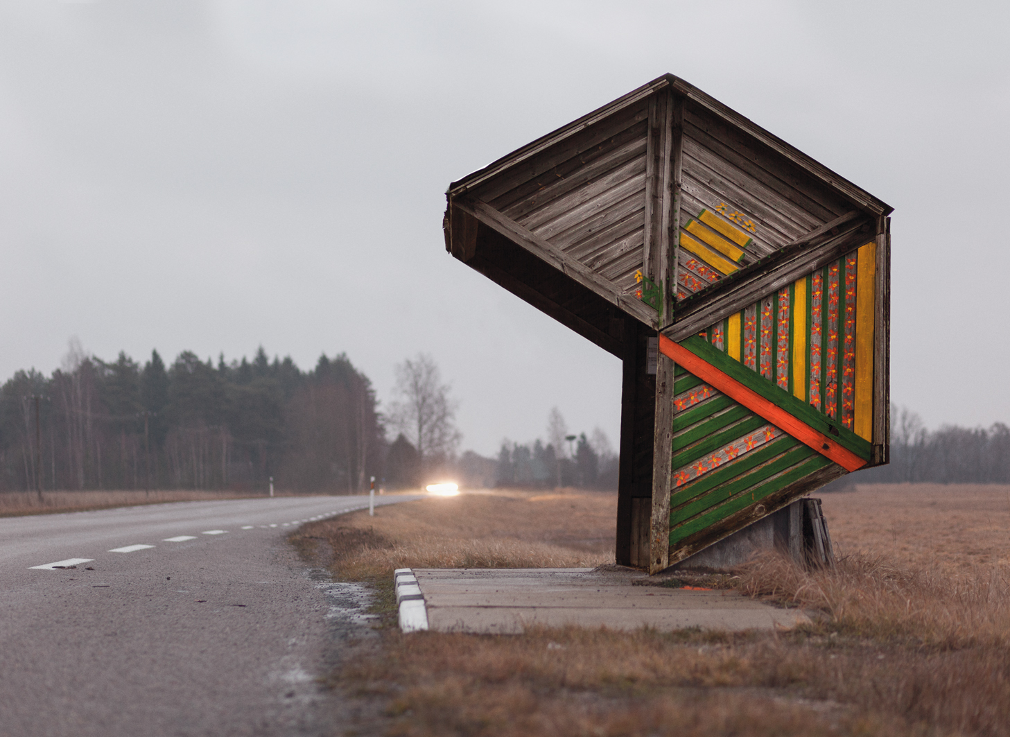 A bus stop on a road in Kootsi, Estonia.