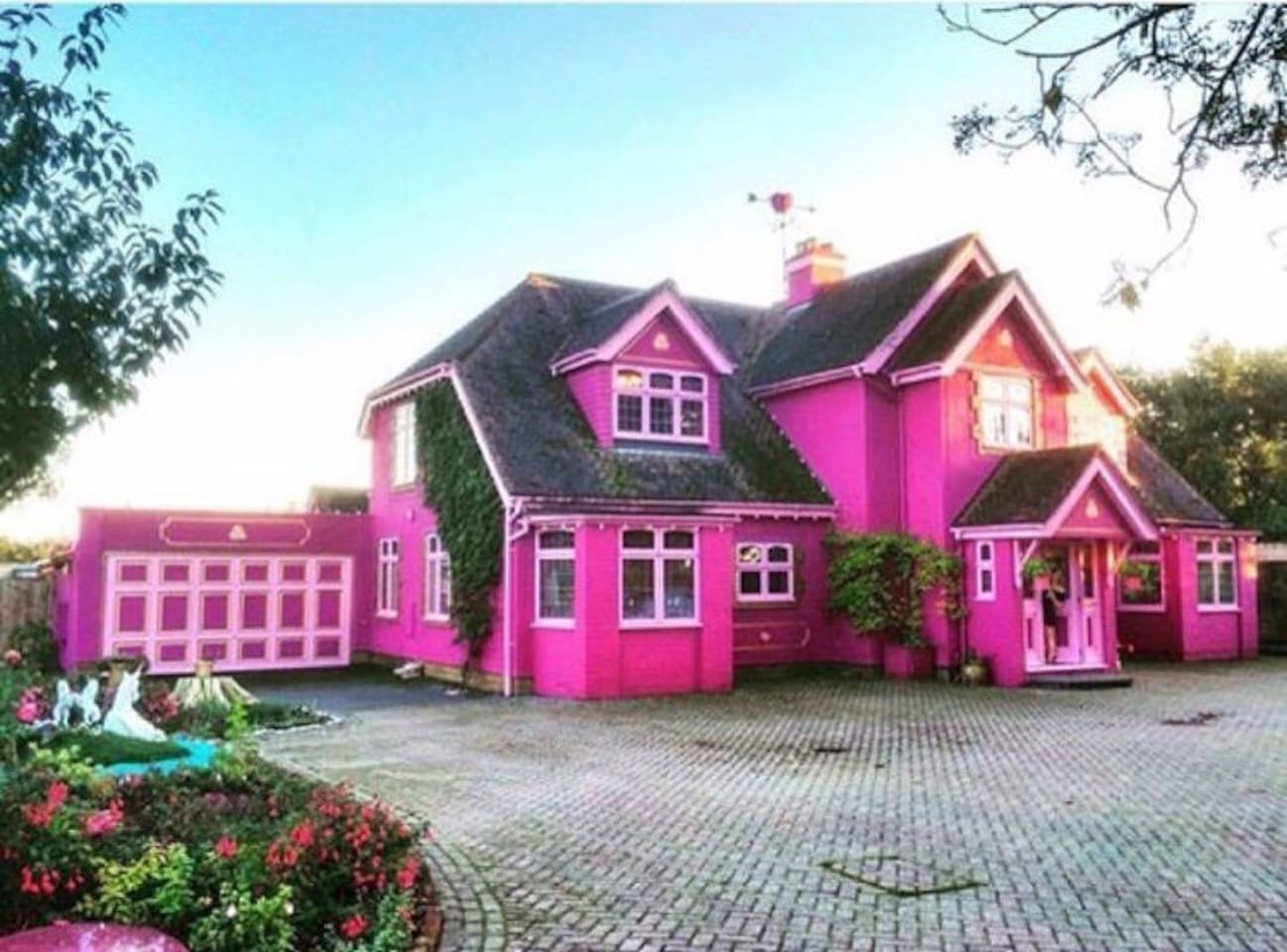 This pink house in Essex can be booked through Airbnb. Image: Eaton House Studio
