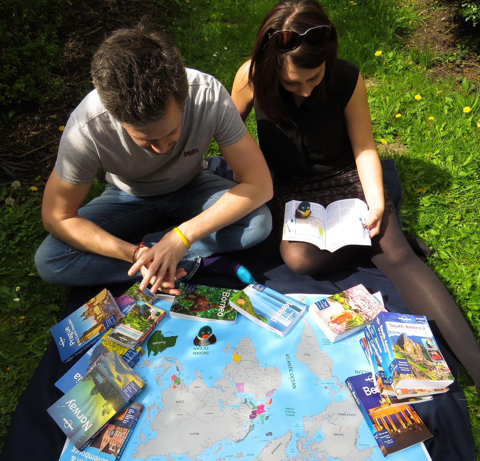 Tommy and Mary Duck have been travelling the world with help from Lonely Planet's guides. Image: Dulverton Ducks
