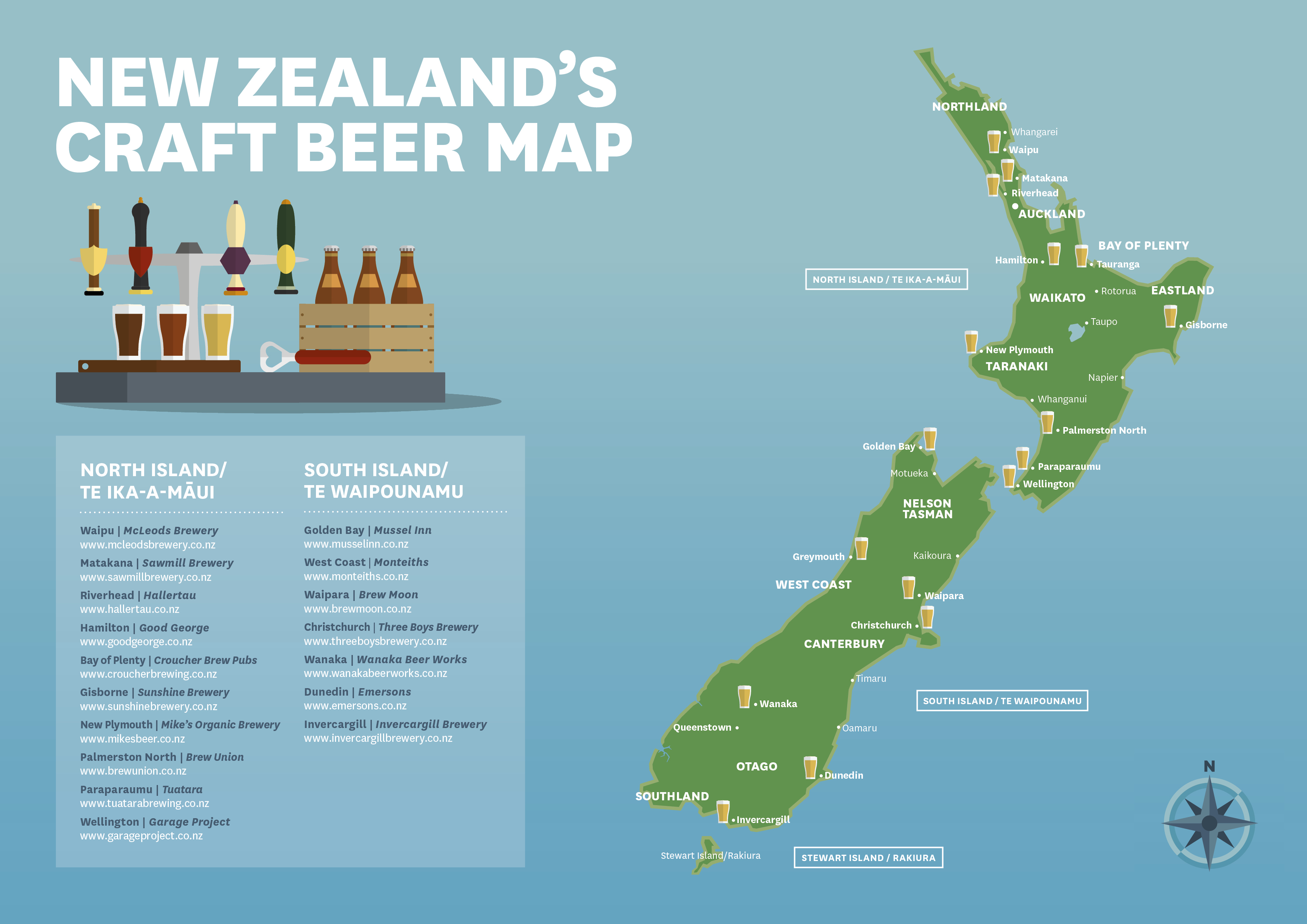 New Craft Beer Map Of New Zealand For Beer Loving Tourists