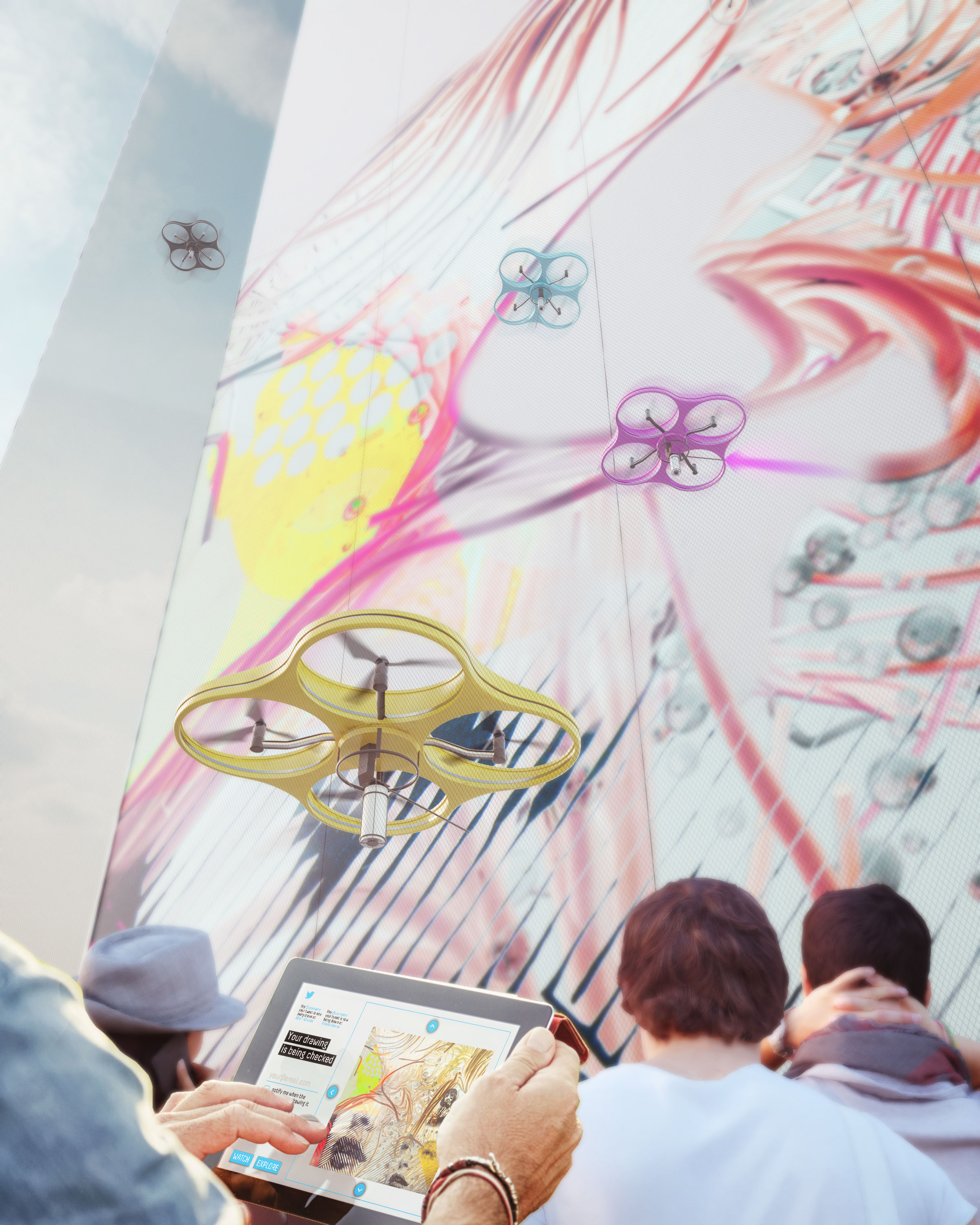 Paint by Drone project for Berlin and Turin