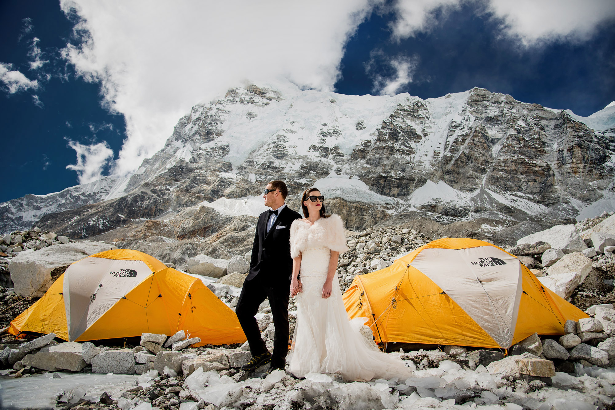 This adventurous couple was married at Everest Base Camp.