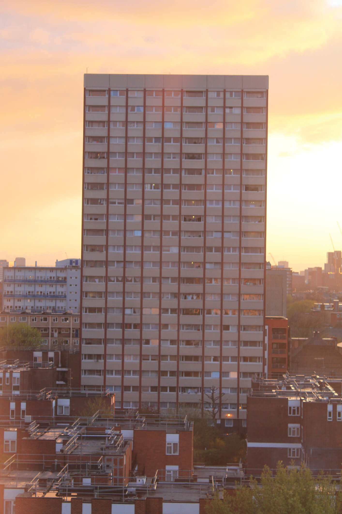 A tower block in Bethnal Green over looking the City, the Shard and other archiectural landmarks.